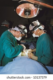 two surgeons operating- vertical orientation