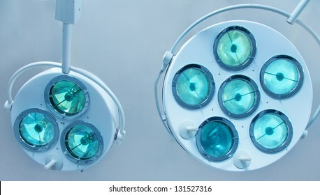 Two surgical lamps in operation room.
