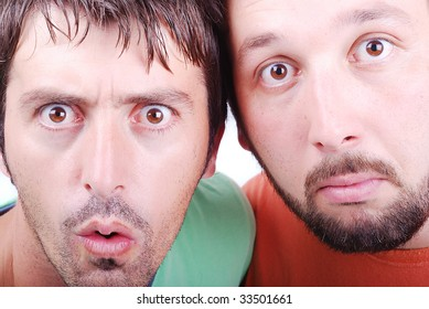 Two surprised man with interesting excited faces