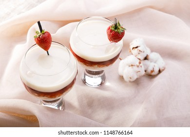 Two sweet coctails on the table