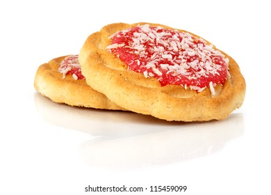 Two sweet cookies with jam on a white background