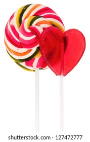 Two sweet lollipops isolated on white background