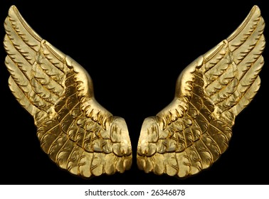 Two symbolic wings made of gold isolated on black.