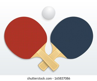 Two table tennis rackets and a ball illustration isolated