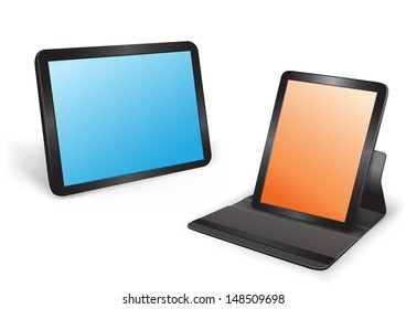 Two tablets in different position on the white background