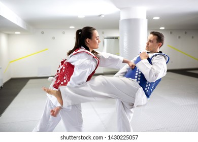 Two taekwondists exchanging punches and kicks in training wearing protective gear, sports concept