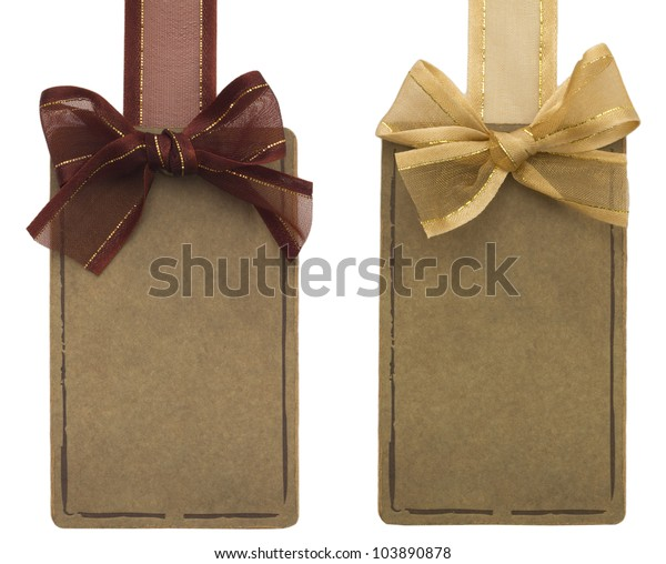 two tags with bows