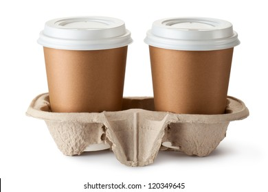Two take-out coffee in holder. Isolated on a white.