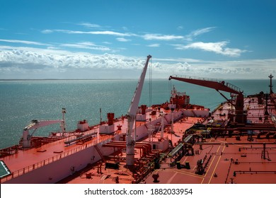 Two tankers carrying out ship to ship transfer operation