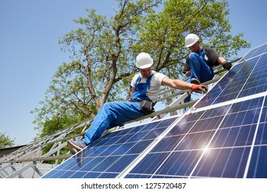 Two technicians on high metal platform against bright blue sky and green tree working on voltaic solar panel system installation. Renewable ecological cheap green energy production concept.