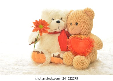 Two teddy bears with flower and heart