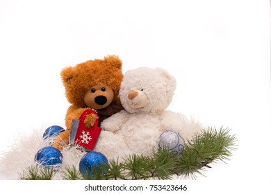 Two Teddy Bears Isolated White Christmas Concept