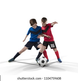 two teenage fotball players struggling for the ball isolated on white