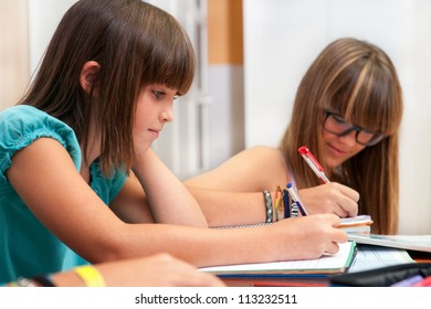 Two teenage girls doing homework at desk.