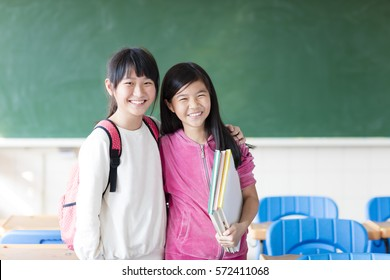 Two teenage girls student in the classroom