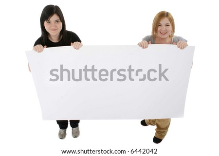 two teens holding blank poster board stock photo edit now 6442042