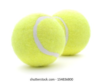 Two tennis balls, isolated on white background