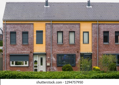 two terraced houses decorated with diverse plants, modern dutch architecture, village homes in the Netherlands