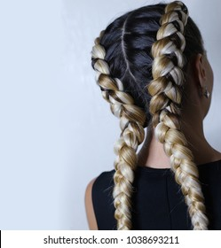 two thick braids of artificial hair, a youth hairdo, colored hair, white braids on a white background, a place for an inscription