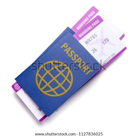 Two tickets for plane with passports isolated on white background