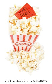 two tickets in a popcorn container, isolated on white