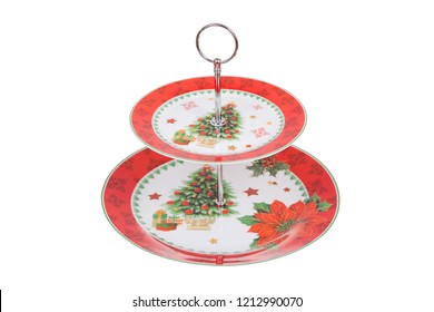 Two tier serving tray with christmas decoration, isolated on white