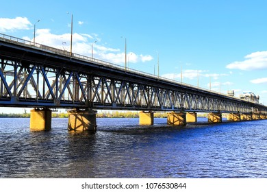 Two tiered bridge  and rail road  across the Dnieper River in Dnipro City Dnepropetrovsk, Dnipropetrovsk, Dnepr, Ukraine