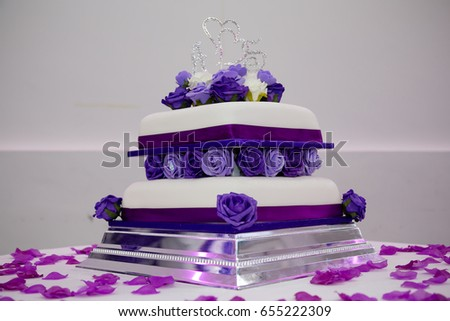 Two Tiered Purple Themed Wedding Cake Stock Photo Edit Now