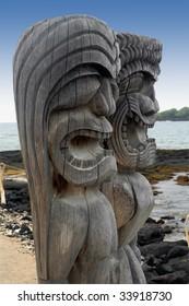 Two tiki gods at Puuhonua O Honaunau National Historic Park, Hawaii