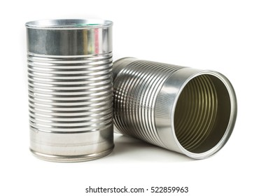 Two tin cans isolated on white background