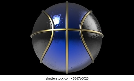 Two Tone Black and Blue Basketball with Metallic Gold Line. 3D illustration. 3D CG. High resolution.