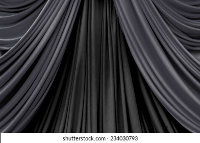 two tone of black curtain on stage curtain on stage for luxury background