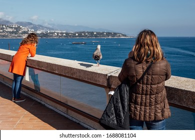 Two tourist woman on the shore watching the sea. Two person keeping distance from each other. distant Monte Carlo, Monaco.
