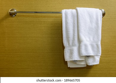 Two towels hanging on the Clothes line