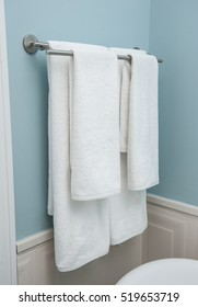 Two Towels Hanging On The Clothes Line.Clean White Towels On A Hanger.white