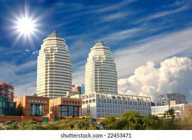Two tower in modern city