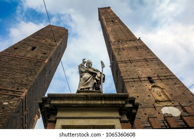 The two towers of Bologna in northern Italy