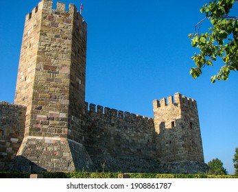 Two towers of the Çandarlı Castle in İzmir, Turkey.