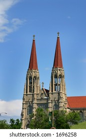Two Towers of a Church with Clear Blue Skies on the Background