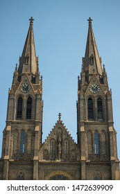 Two towers, Church of Saint Ludmila at Namesti miru or Peace Square