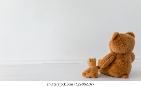 Two toy bears sitting like family