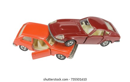two toy cars isolated on white background