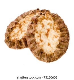 Two traditional national Karelian Pasties isolated on a white background