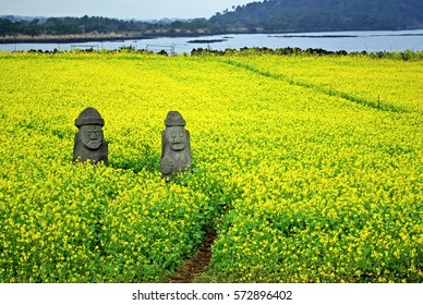 Two traditional stone grandfather mythological figures in a field of yellow rape flowers in Jeju Island