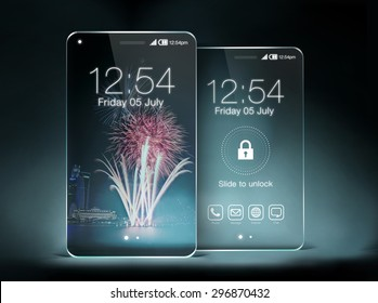Two transparent smartphone on blue color background. The most promising technologies in the mobile market is flexible and transparent displays.
