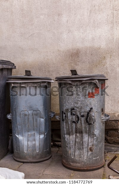 Two Trash Cans Galvanized Sheet Steel Stock Photo (Edit Now