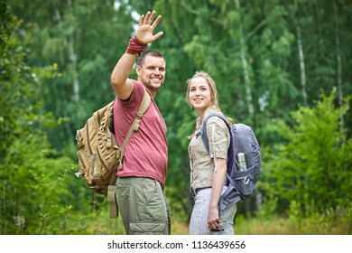 two travelers in the forest
