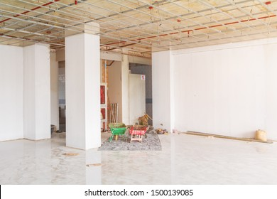 two trolley red - green in room interior building structure  Construction site development housing