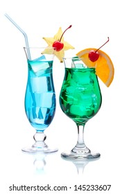 Two tropical cocktails. Isolated on white background