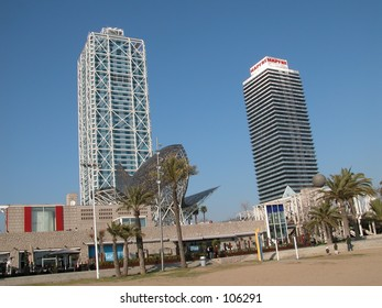 The two twin towers in theOlympic area of Barcelona, Spain, housing offices and a luxury hotel.